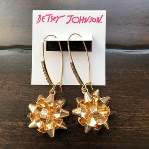 Betsey Johnson Gold Holiday Bow Earrings